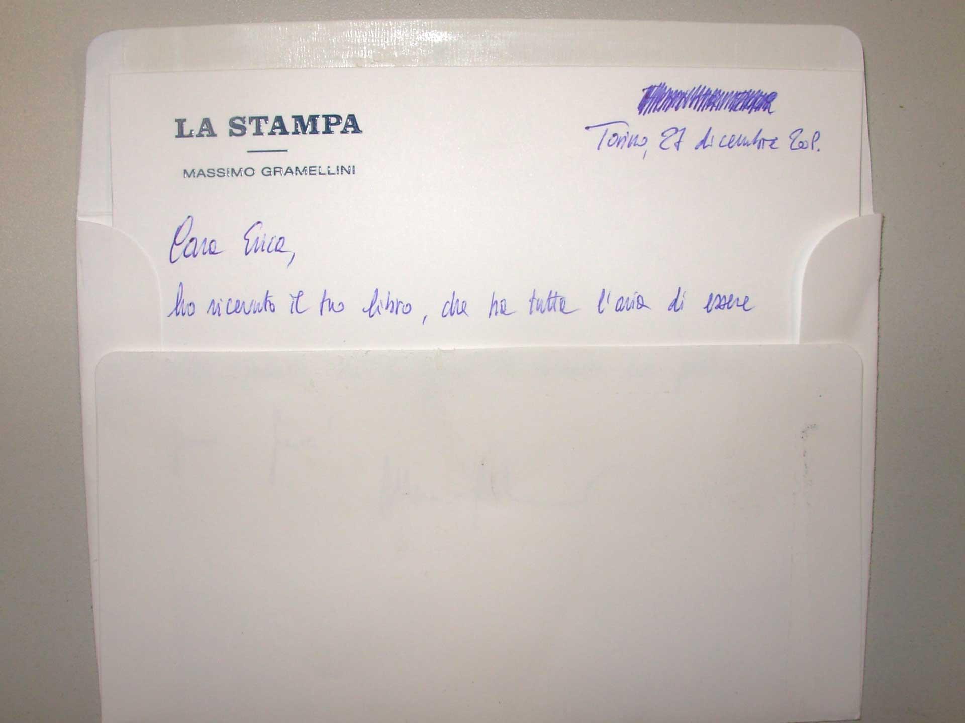 Il biglietto di Massimo Gramellini, con ilo quale mi ringrazia del romanzo 2010