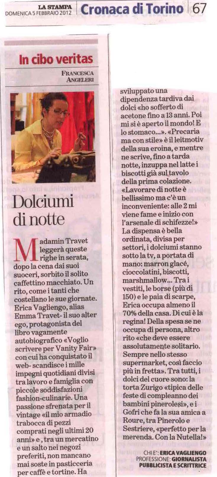 La Stampa, 2012 Il pezzo di Francesca Angeleri