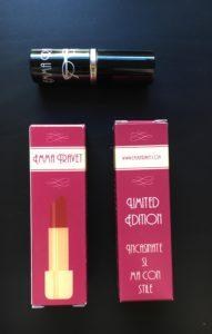 La confezione in edizione limitata dei rossetti di Emma Travet